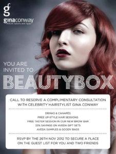 Beauty Box Events November 2012 Gina Conway Aveda Salons and Spas
