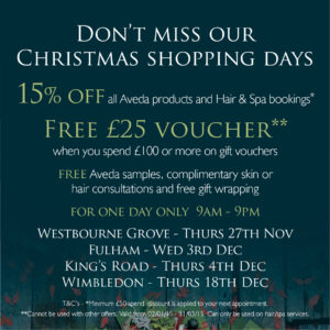 Receive a FREE £25 gift voucher when you spend £100 or more on gift vouchers at Wimbledon on the 18th December ONLY Gina Conway Aveda Salons and Spas